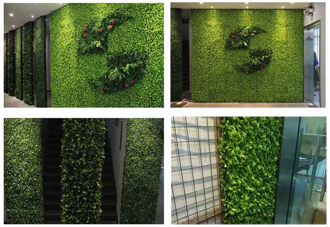 DIY-office-hall-wall-decor-by-fake-plants
