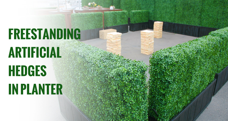 Freestanding Artificial Hedges in Planter