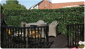 PROJECTS-artificial foliage hedge screen for fence covering